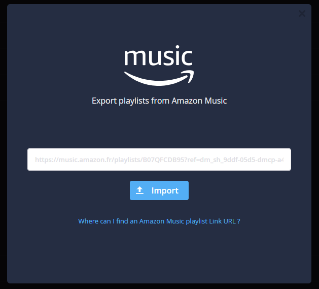 2d3a052ac2c9c2 You have created some playlists with the Amazon Music Unlimited offer and  would like now to export them to another music service ?